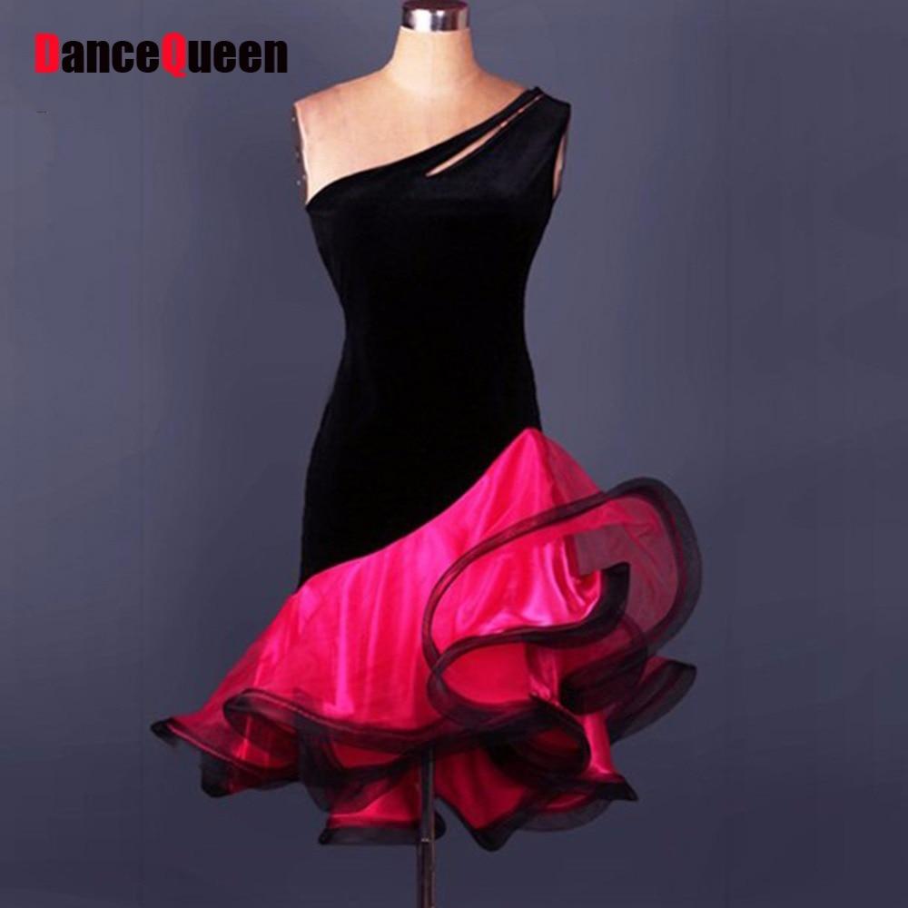 2017 Girls/Lady Latin Dance Dress Adult/Children Customize-Size Velvet Sleeveless Skirt Cha Cha/Rumba/Samba/Tango/Vestido
