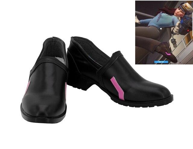 OW DVA Ayakkabı Cosplay Overwatchs DVA Polis Cilt Cosplay Ayakkabı siyah çizmeler Özel Yapılmış Herhangi Bir Boyut
