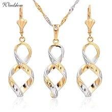 Placa de Oro amarillo y Blanco Mezclados Remolino Pendientes Infinity Collares Sistemas de La Joyería para Las Mujeres Del Banquete de Boda