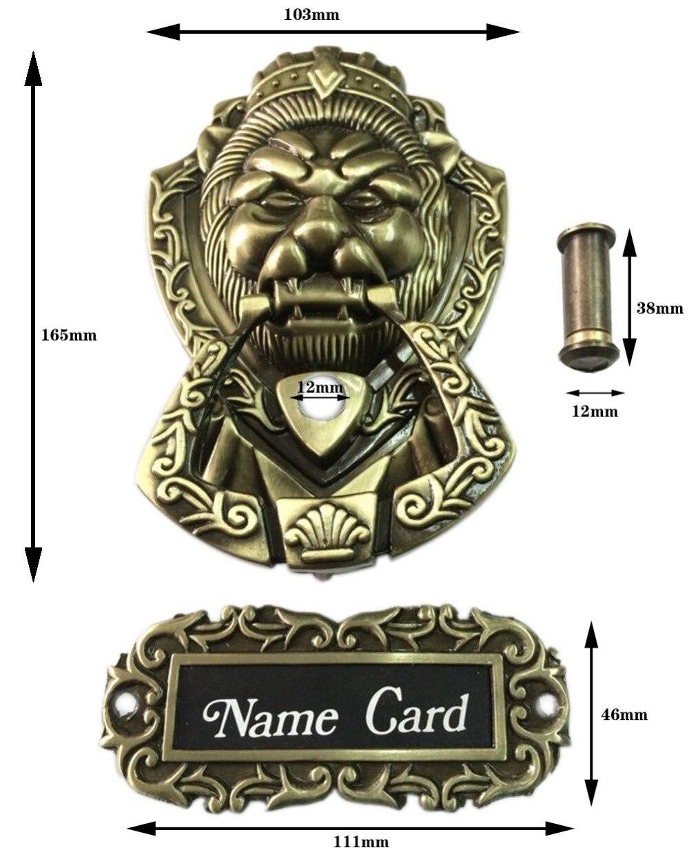 Bronze Antique Chinese Lion Head Door Handle Knocker Handle Unicorn Beast Sizes 165mm 103mm Ring Size