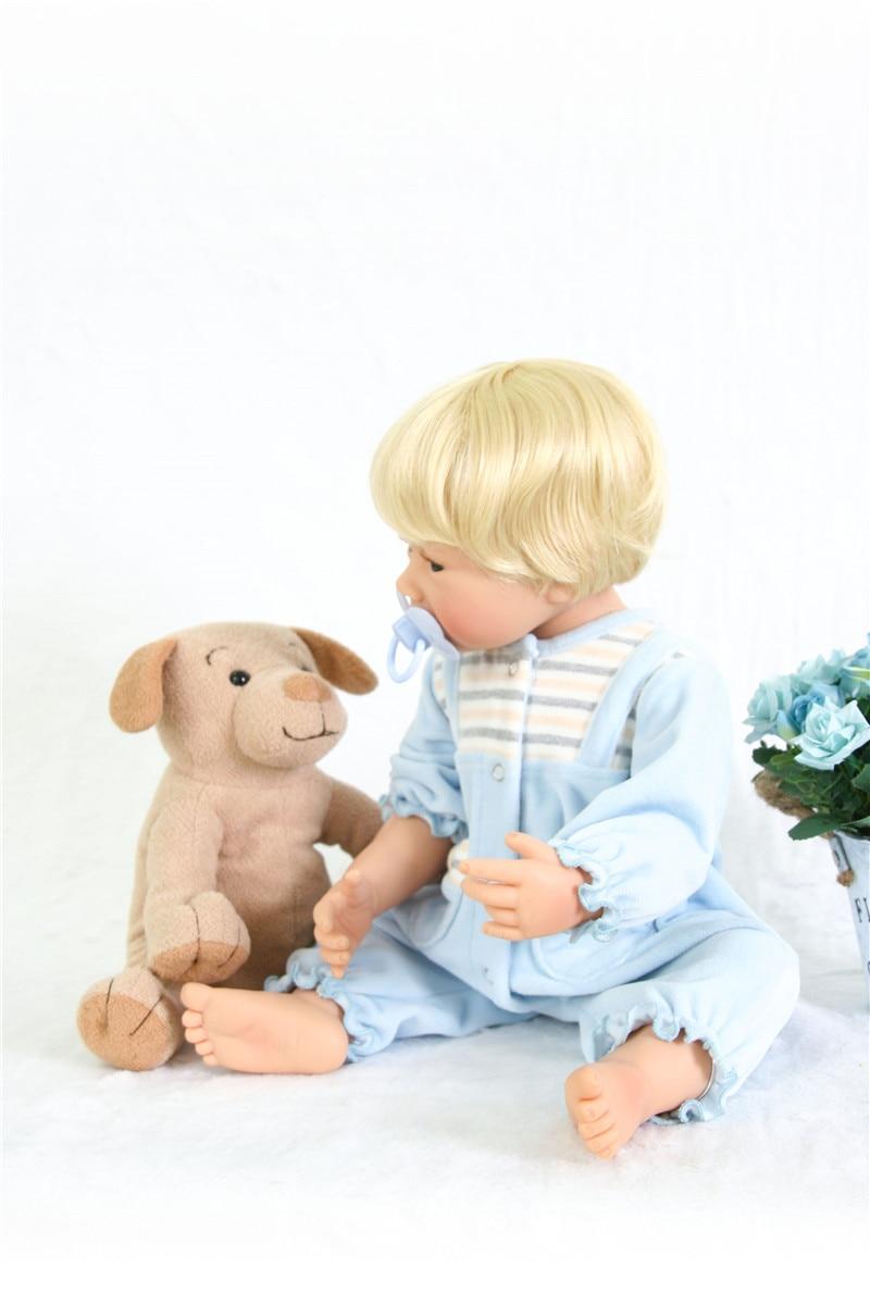Poupées silicone reborn bébé garçon poupées vraie blonde Bebes reborn menino bonecas 55 cm avec peluche Surprise cadeau Santa bebe - 3