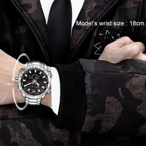 Image 5 - Часы наручные NAVIFORCE Мужские кварцевые в стиле милитари, брендовые светодиодсветодиодный аналоговые цифровые армейские, из нержавеющей стали