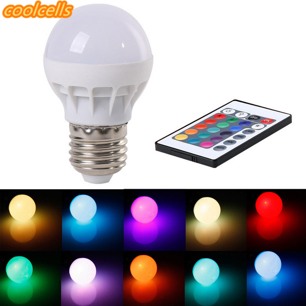 New 3W E27 LED RGB LED Light Bulb with IR Remote Control Pop Lamp Color Changing AC 85-265V 16 colors changing LED Bulbs Tubes us plug 3w rgb revolving led light yellow white ac 85 265v