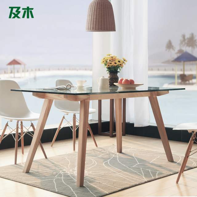 Modern Minimalist Scandinavian Furniture And Wood Rectangular Glass Dining  Table Solid Wood Dining Table CZ007A Creative