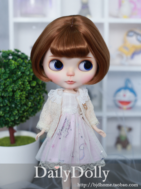 Blythe BJD wig short wig Curly High-Temperature Wire for blythe dollfie smoke powder double horsetail 100 cm high temperature wire cos wig gasai yuno