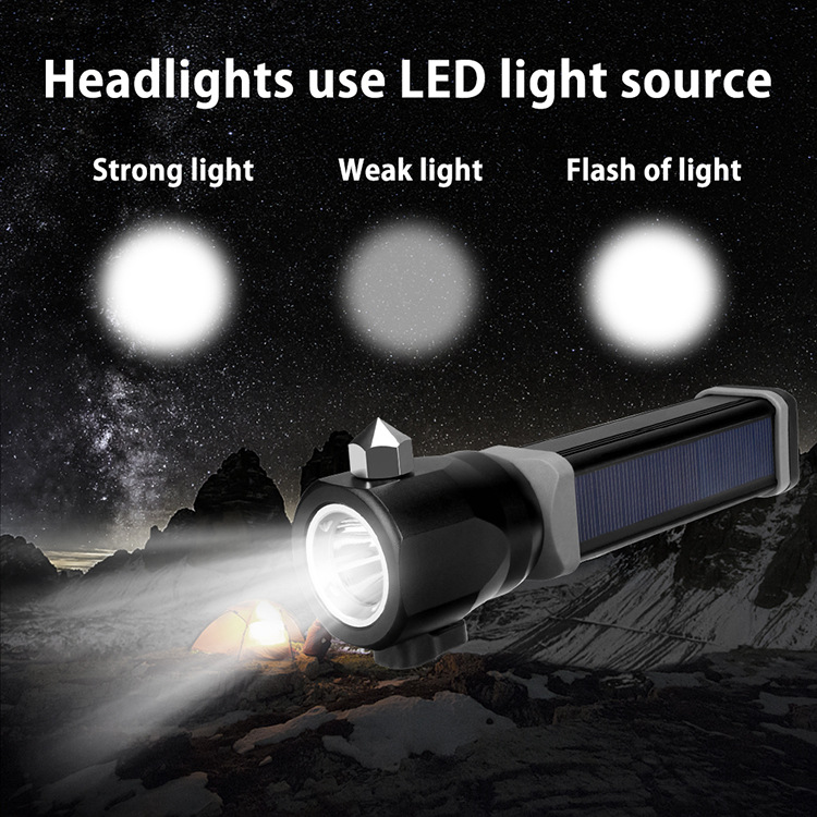 T6 Outdoor Waterproof USB Charging Safety Security Torch Hammer Magnet Charging LED Solar Aluminum Alloy Emergency Flashlight