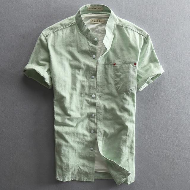 White Mens Linen Shirt