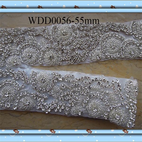 (10 YARDS) Wholesale bridal beaded Rhinestone Applique Trim iron on for wedding evening dress sash WDD0056