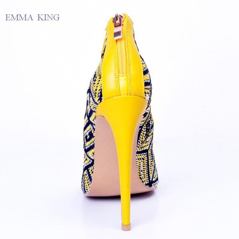 Lumineux Talons Croix D'été Sandales Chaussures Nouveau Femme Jaune 2019 attaché Pour Toe Au Pics Glissière Peep Aiguilles Dames Femmes Dos As Pompes Ywafxx8qg