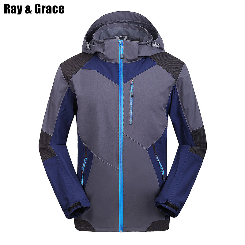 Ray Grace Men's Three Season Softshell Jacket Water-Resistant Windproof Hood Outdoor Sports Hiking Camping Climbing Outerwear