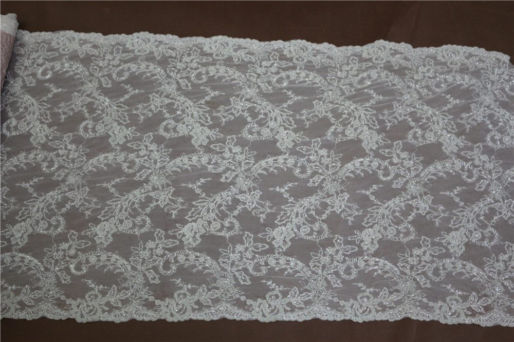 High quality guipure crystal bead fabric for wedding dress for Wedding dress lace fabric