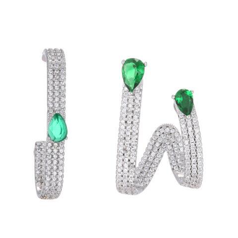 Hot zircon Luxury Stud Earrings New Women Fashion green Clear Rhinestones women Girls Trendy Earrings Jewelry