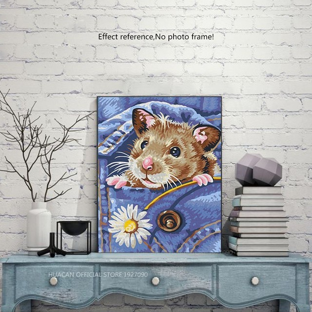 HUACAN 5D DIY Diamond Painting Hamster Full Drill Pictures Of Rhinestones Decor Home Flowers Mosaic Diamond