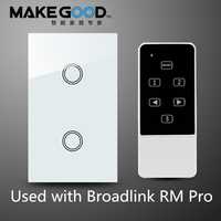 US standard MakeGood 2Gang 1 way wireless touch switch screen light switch with remote control function, RF433 Smart home