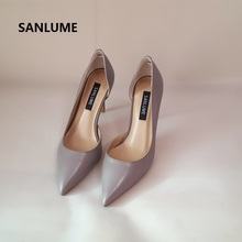 SANLUME Women Sexy Genuine leather High heels Basic Model Pumps Lady Pointed Toe Nude Wedding shoes inside sheepskin hot sale high quality pointed toe thin high heels women shoes genuine leather upper and inside lady sexy pumps sheepskin shoes