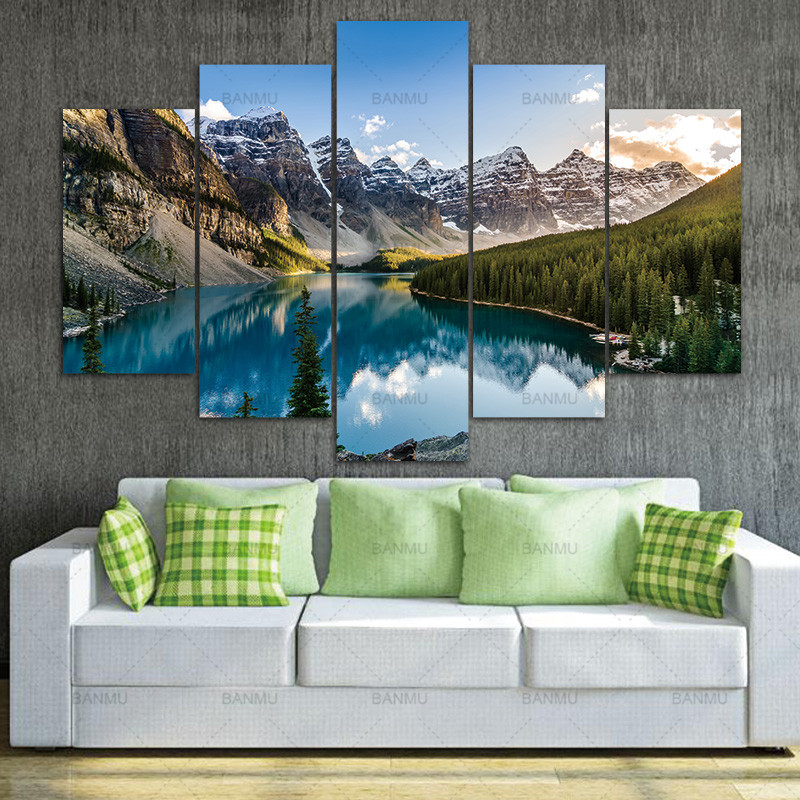 Painting Wall Art 5 Pcs Modern Canvas Moraine Lake And Mountain The Picture For Home DecorationGiclee Artwork For Wall Decor
