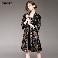 2017 Winter Wool Embroidery Coat Fashionable Women Allover Embroidery Black Red Color Warm Woolen Overcoats Outerwear Plus XXL