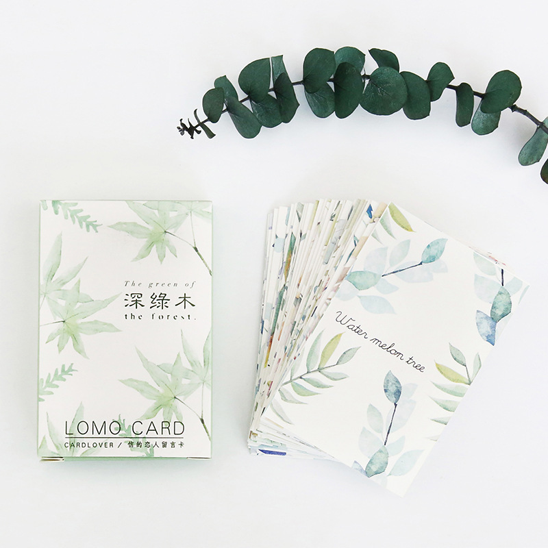 28 Sheets/Set Green Plant Leaves Mini Postcard /Greeting Card/Message Card/ Kids Gift Postcard Kawaii Stationery