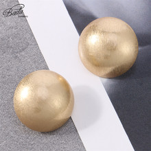 Badu Frosted Gold/Silver Semi-Ball Stud Earring for Women Vintage Fashion Jewelry Big and Small Different Size Wholesale