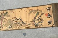 Antique vintage antique calligraphy scroll paintings, decorative painting silk painting birds map