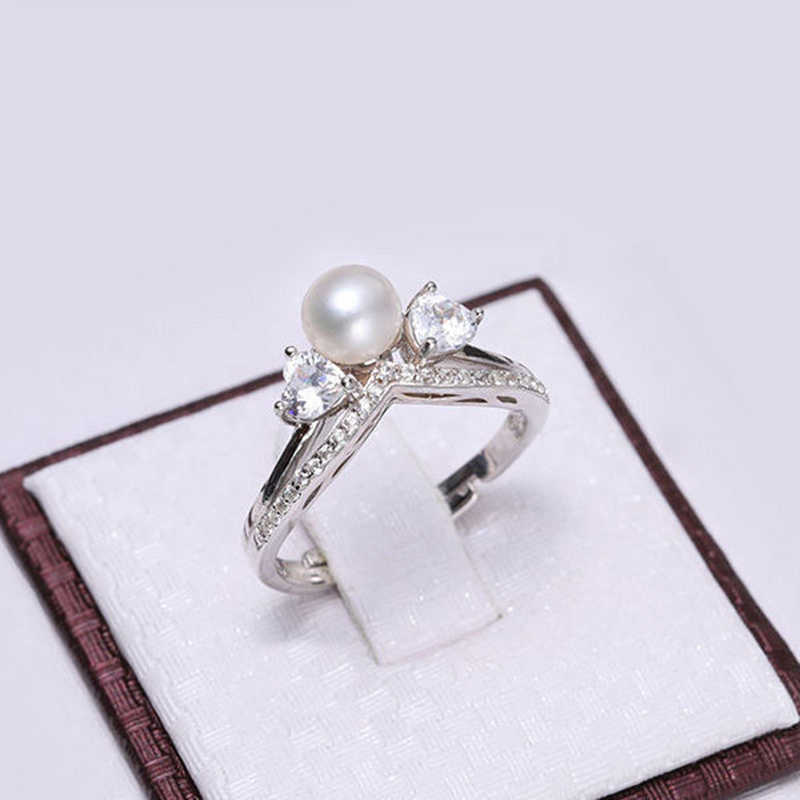 DMCRFP014 5-6 мм Корона с жемчугом Кольцо Настоящее серебро 925 проба кольцо женский подарок