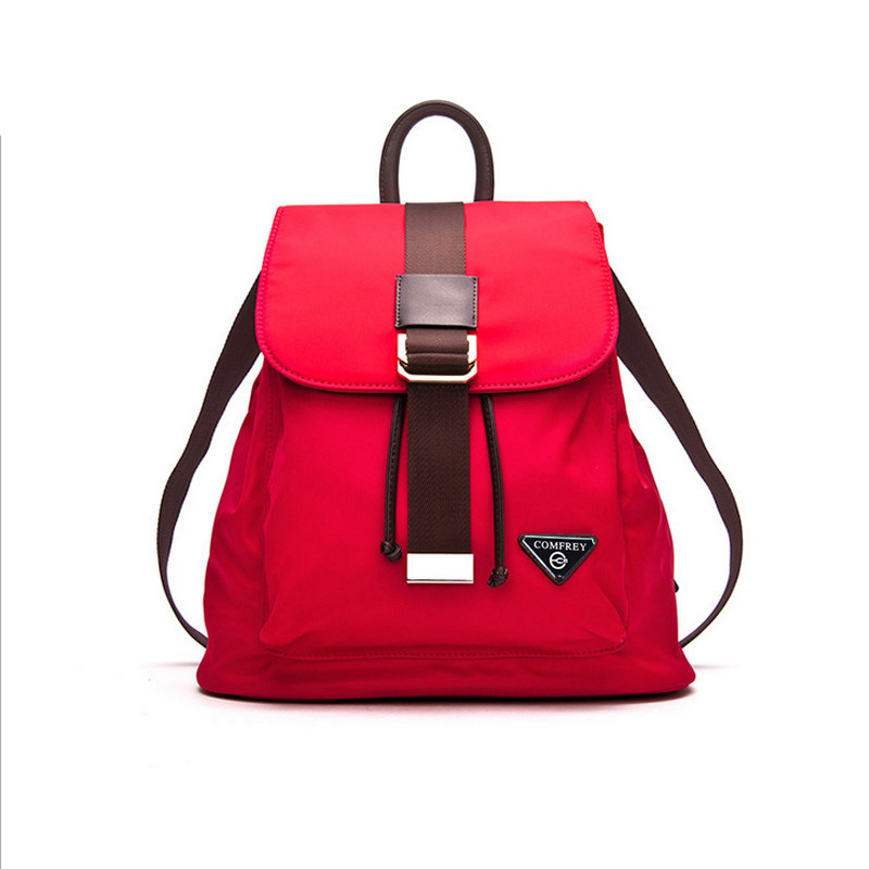 купить Fashion Oxford Splicing Top Layer Cowhide Backpack Trendy Women Preppy Style Drawstring Bag Waterproof Durable Buckle Travel Bag недорого