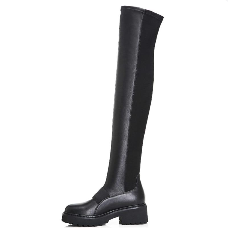 FEDONAS 黒人女性ニーハイブーツハイヒールロング暖かい冬の靴の女性タイトな高ダンスブーツ  グループ上の 靴 からの 膝上 ブーツ の中 2