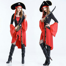 2017 New Hot Sale Adult Female Cruel Seas Captain Buccaneer Pirate Cosplay Costume Women's Sexy Halloween Fancy Dress Clothing