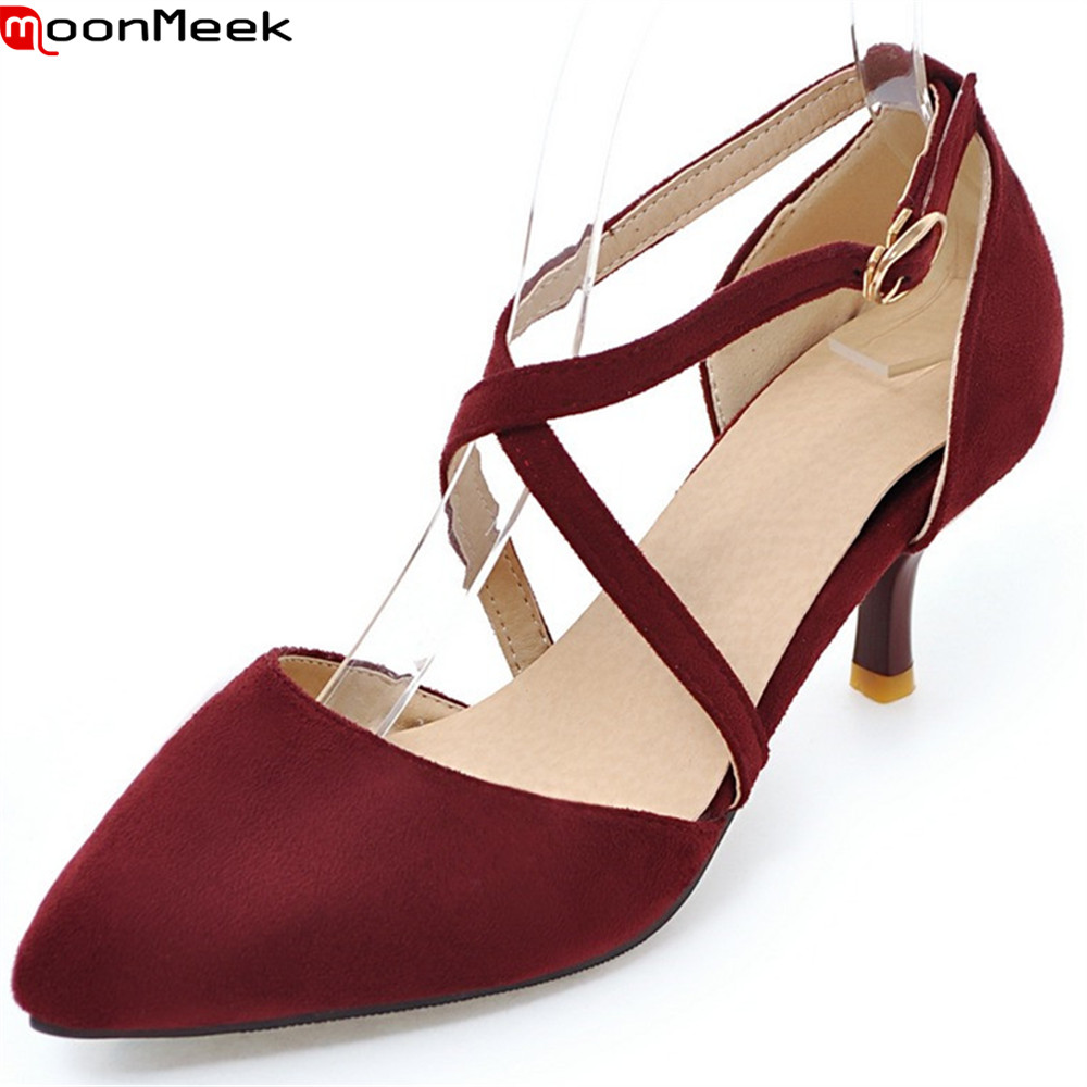 MoonMeek pointed toe spring summer pumps women shoes high heels with buckle thin heel sexy party wedding shoes ladies shoes siketu 2017 free shipping spring and autumn women shoes fashion sex high heels shoes red wedding shoes pumps g107