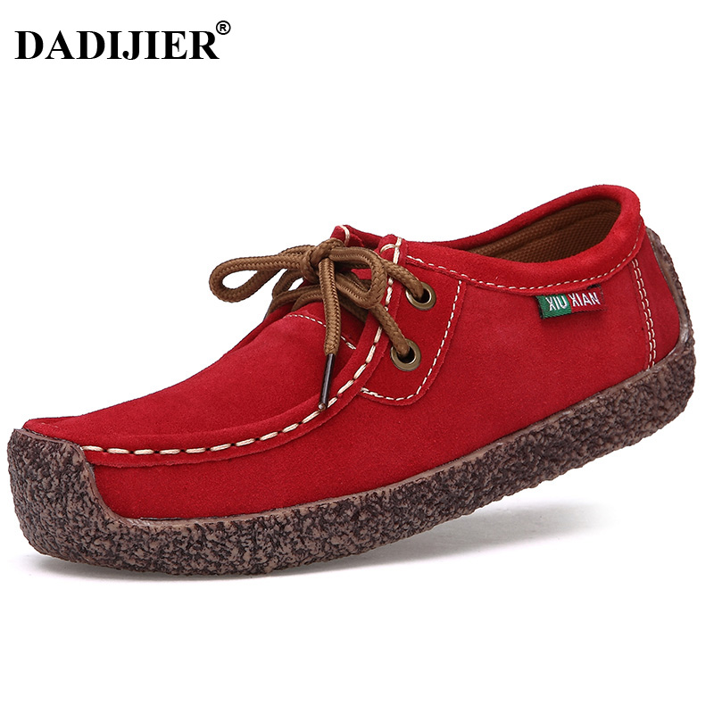 DADIJIER 2018 New Fashion Casual leather Shoes For Women Wild Lace up Flats Comfortable Concise Shoes