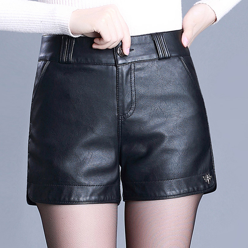 2019 Autumn Winter Women PU Leather Black   Shorts   High Waist Stretch Boots   Shorts   Female Skinny Cool   Shorts
