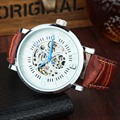 GOER Luxury Brand Fashion Sports Mechanical Watches Leather Strap Men's Skeleton Silver Case Watches Reloj Hombre