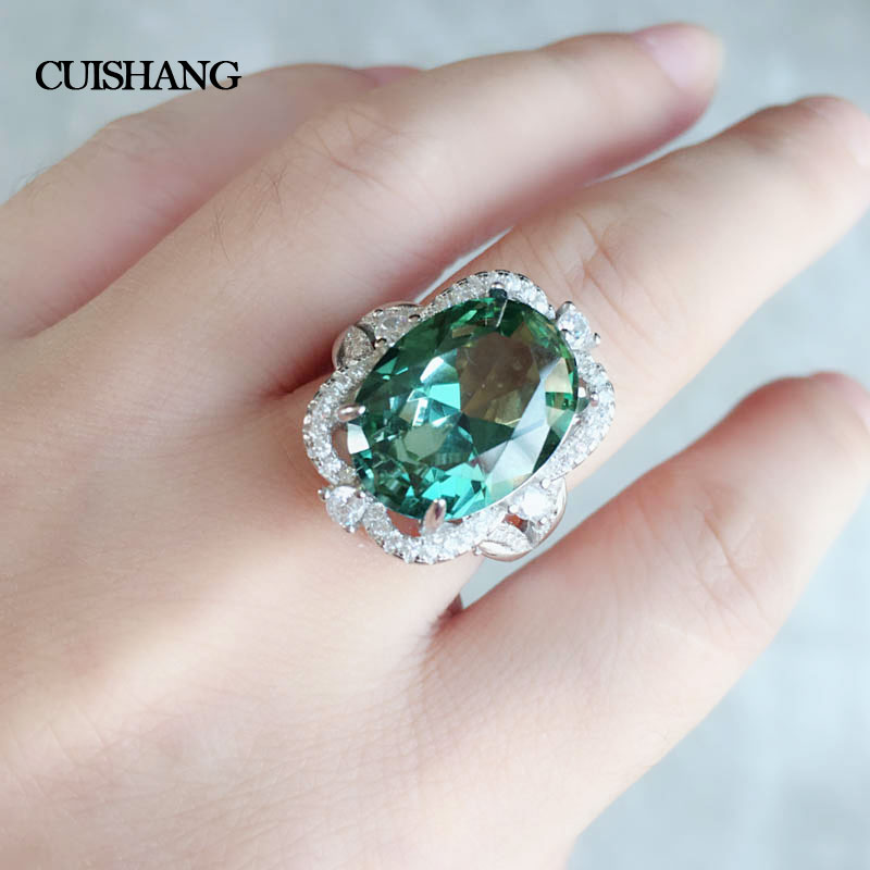 CSJ Created Green Sapphire Ring Sterling 925 Silver Classic Design Fine Jewelry Women Party Wedding Gift