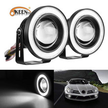 OKEEN 2x White Red Ice Blue 2.5/3/3.5 inch COB Angel Eyes Fog Lights Led Car Headlight Lamp DRL Universal Daytime Running Light(China)