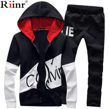 Riinr 2018 Brand Sporting Suit Men Warm Hooded Tracksuit Track Men's Sweat Suits Set Setter Print Large Size Sweatsuit Male 5XL(China)