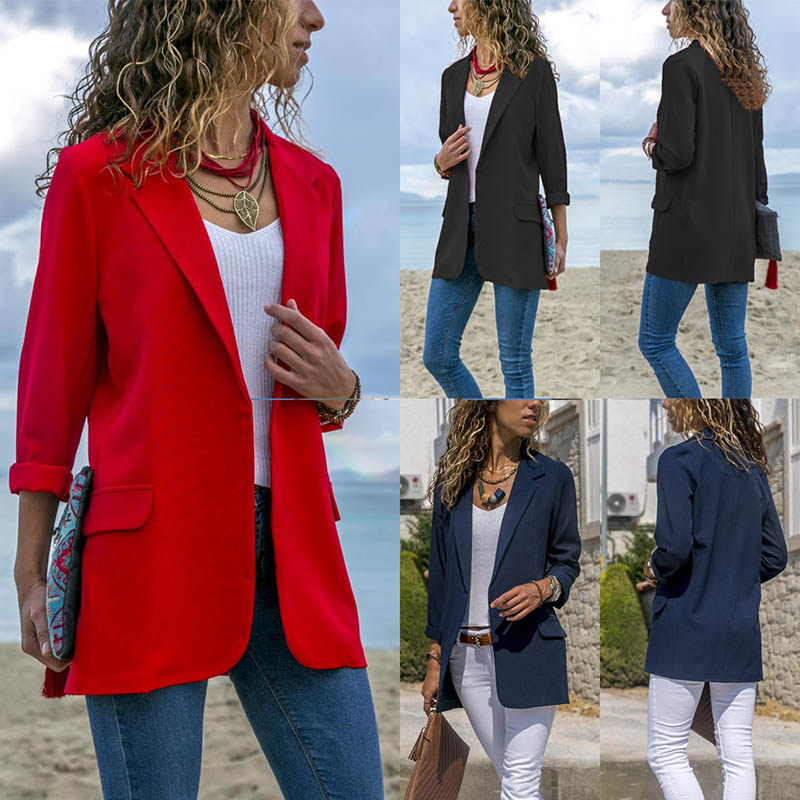 Women Open Front Long Sleeve Work Office Blazer Jacket Cardigan Casual Solid Color Suit  TS95