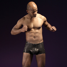 Faux Leather Mens Exotic Apparel Men Boxers Shorts Transparent Underwear Lingerie Black Pants Super Sexy Wetlook Boxer W850530