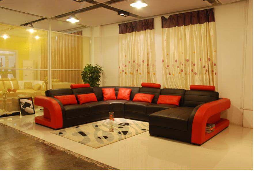 Free Shipping Furniture Sofa Classic Black And Red Genuine Leather Large Size U Shaped Couches Living Room Corner Sofas