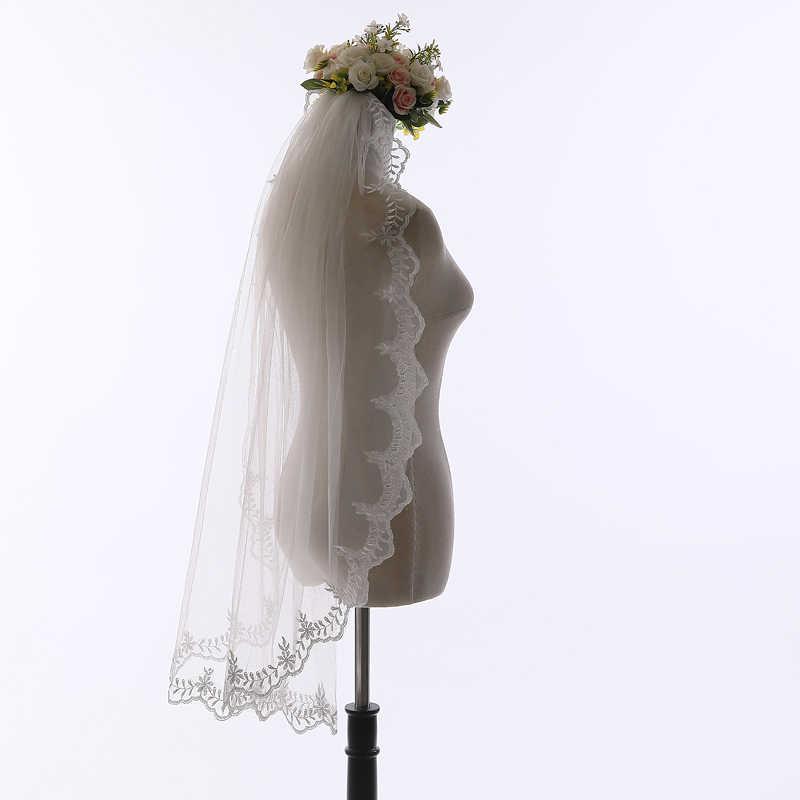 U-SWEAR 2018 מכירה לוהטת נשים שנהב אחת גודל כלה רעלה פלורה תחרה קצה שכבה אחת חתונה רעלות Velo דה Novia עבור חתונה שמלה