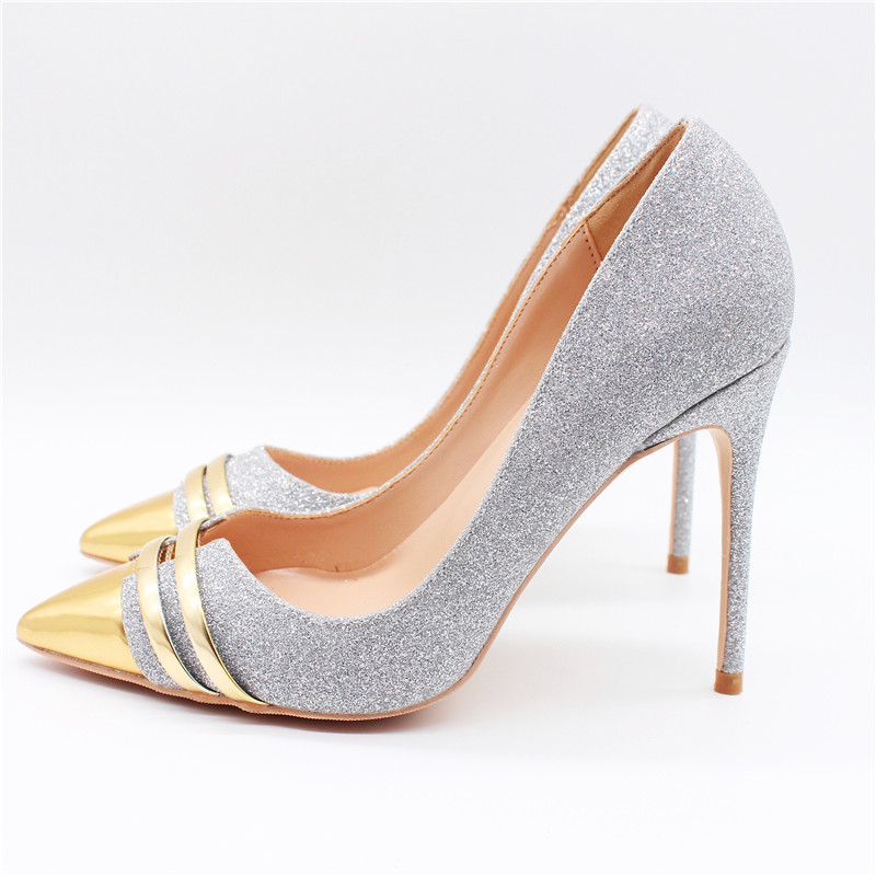 Free shipping fashion women Pumps lady silver Glitter Pointy toe high heels shoes size33-43 12cm 10cm 8cm bride Stiletto heeled