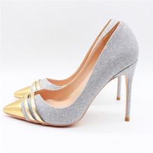 Free shipping fashion women Pumps lady silver Glitter Pointy toe high heels shoes size33-43 12cm 10cm 8cm bride Stiletto heeled manmitu free shipping 2017 new vogue bride shoes women high heeled sandals fashion sexy buckle summer heels open toe gold 10cm