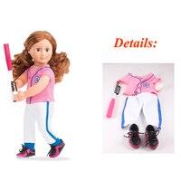 1 مجموعة فتاة أمريكية دمية الملابس الملابس زي البيسبول الخفافيش البيسبول البيسبول والرياضة الأحذية ل 18 بوصة الدمى
