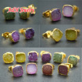 Lovely Women Stud Earrings Super High Quality Natural Druzy Agate Jewelry 8mm Square Shape Gold Plated Earrings 5pairs/lot