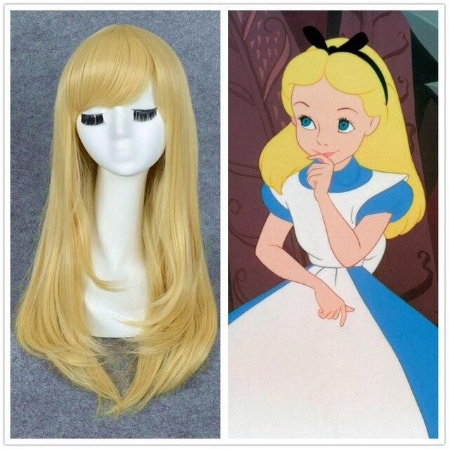 O Envio gratuito de Alice No País Das Maravilhas Alice Peruca Calor Ok Reta Longa Loiro Claro Peruca + um boné peruca