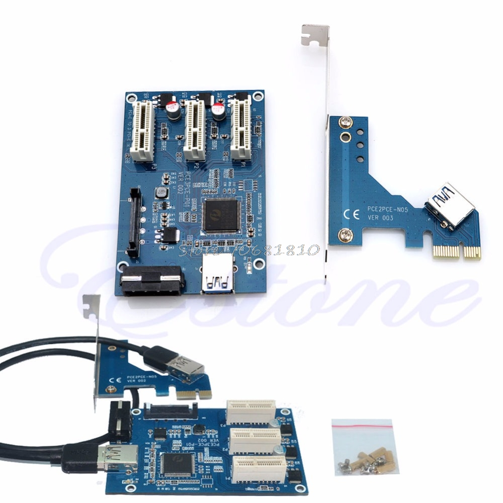 PCI-e Express 1X to 3 Port 1X Switch Multiplier HUB Riser Card +USB Cable Z09 Drop ship 1pcs pci e express 1x to 4 port 1x switch splitter multiplier hub riser card with usb 3 0 cable