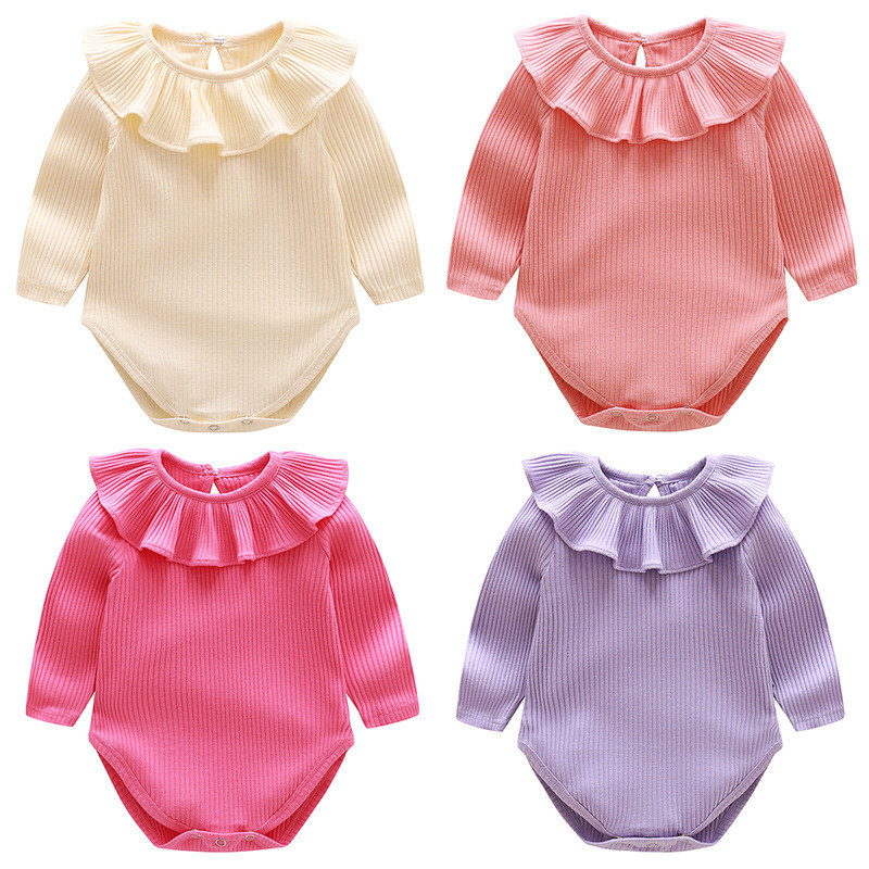 Autumn New Long Sleeve Baby Rompers Ruffles Cotton Knitted Baby Girl Clothes 2017 Newborn Baby Boy Jumpsuit Infant Clothing Set newborn infant baby boy girl cotton romper jumpsuit boys girl angel wings long sleeve rompers white gray autumn clothes outfit