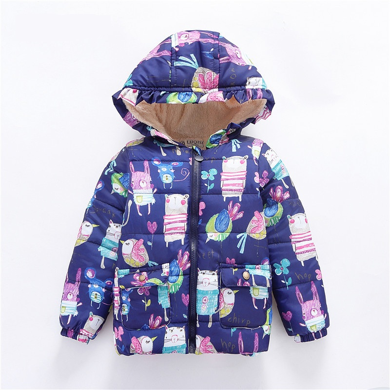 Winter Kids Outerwear & Coats Girls Graffiti Parkas Hooded Baby Girl Boy Warm Coat Cartoon Animal Children Jackets for 2-6T Tops 2017 winter baby coat kids warm cotton outerwear coats baby clothes infants children outdoors sleeping bag zl910