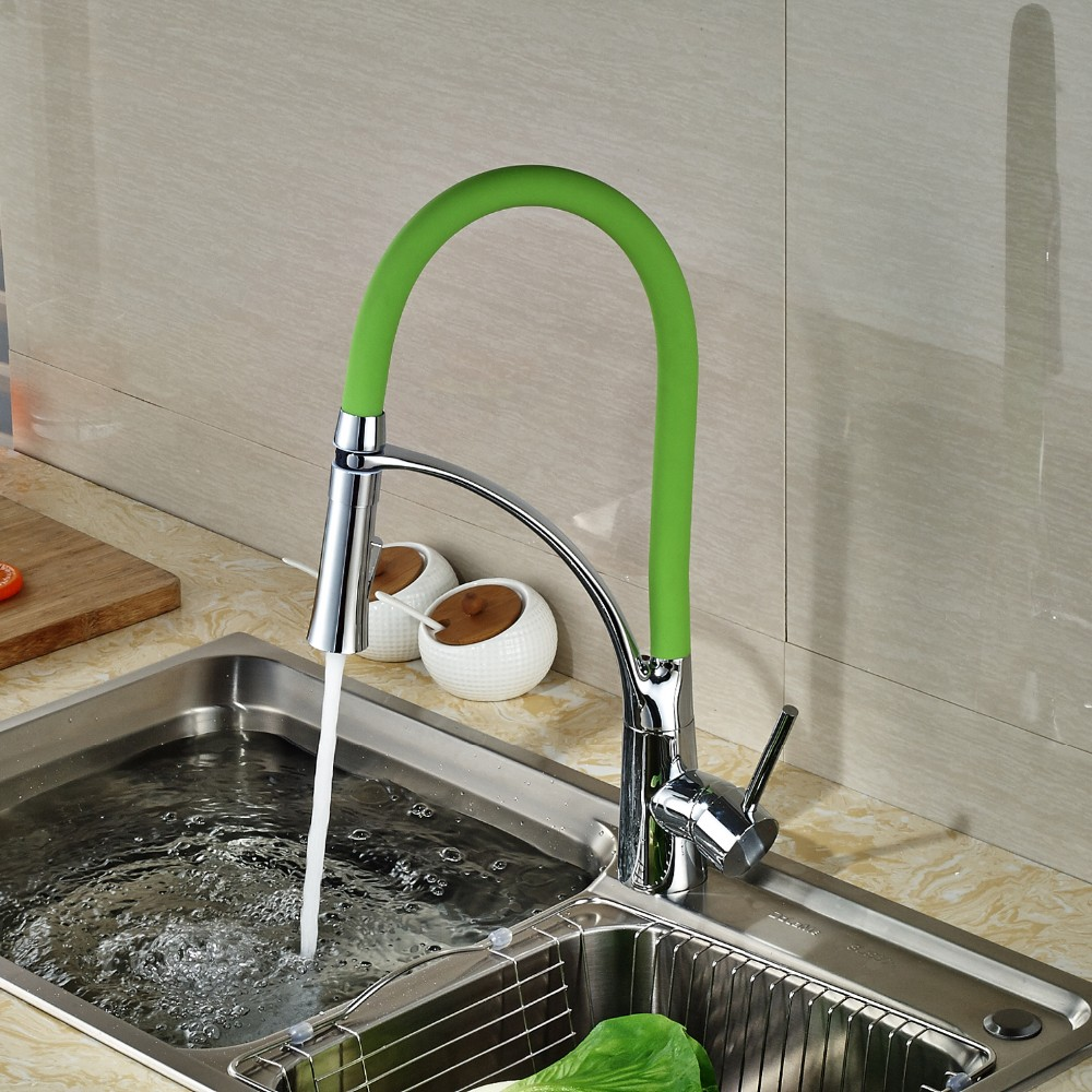Wholesale And Retail Chrome Polished Kitchen Sink Faucet Single Handle Mixer Tap With Green Body