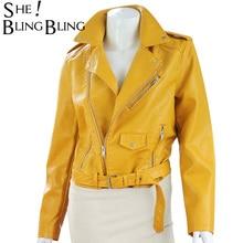 Women Coat 2017 Autumn Fashion Street Short Washed PU Leather Jacket Bright Colors Female Basic Jackets Slim Long Sleeve Coats