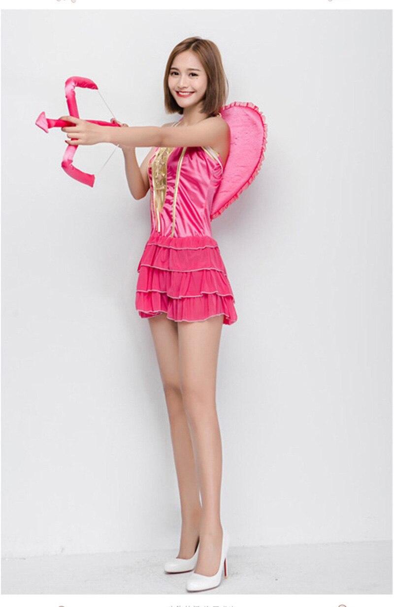 d6d43620e55 Halloween femme femmes cupidon Costume vilain rose en couches tenue courte  douce robe à volants fantaisie vêtements aile ensemble pour les  adolescentes dans ...